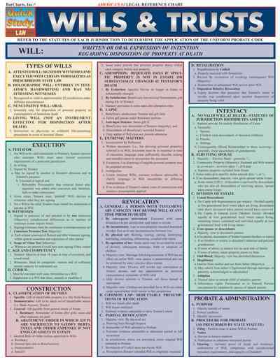 Wills & Trusts Laminated Reference Guide By Barcharts, Inc. (COM)